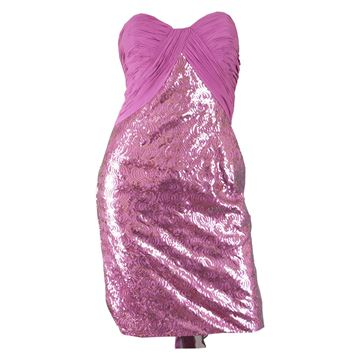 Vicky Tiel Sequin & Ruched Silk Mini Party Dress