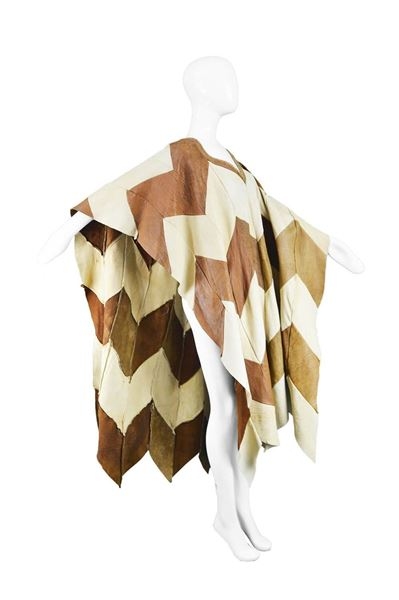 Vintage 1970s Patchwork Leather Vintage Cape