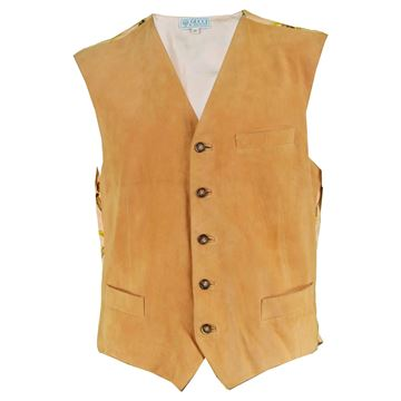 Gucci 1980s Men's Silk & Italian Suede Men's Vintage Vest