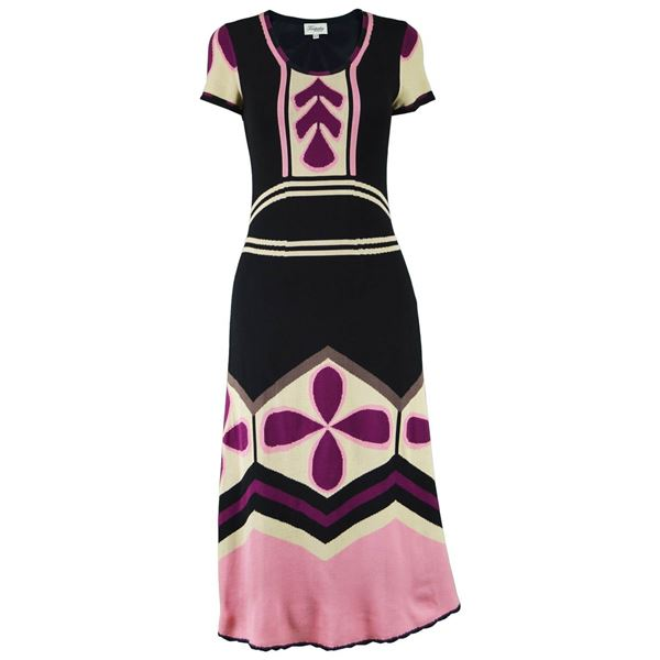 Temperley London Pink & Black Silk Dress