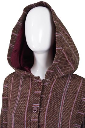 Bill Gibb 1970s Hooded Striped Vintage Coat