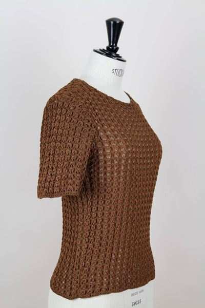 1980s Yves Saint Laurent YSL Brown Openwork Knit Top / Sweater / Pullover