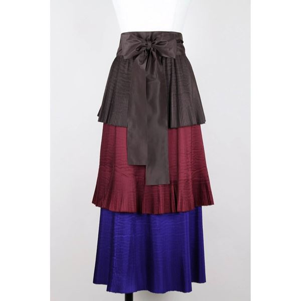 1980s Yves Saint Laurent YSL Colour Block Pleated Tiered Silk Skirt With Sash