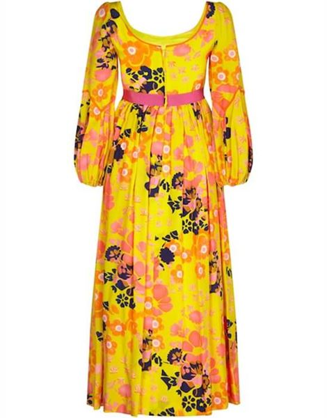 frank-usher-1960s-psychedelic-yellow-silk-floral-printed-dress-with-pink-ribbon-uk-size-8