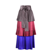Picture of 1980s Yves Saint Laurent YSL Colour Block Pleated Tiered Silk Skirt With Sash