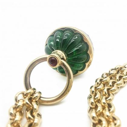 Givenchy Vintage Necklace Statement 'Carved Emerald' Navy Enamel Pendant & Chain