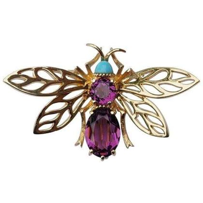 Picture of Panetta 1970s Amethyst and Turquoise Glass Bee Brooch