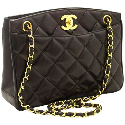 Picture of Chanel 1990s Quilted Lambskin Leather Black Shoulder Bag
