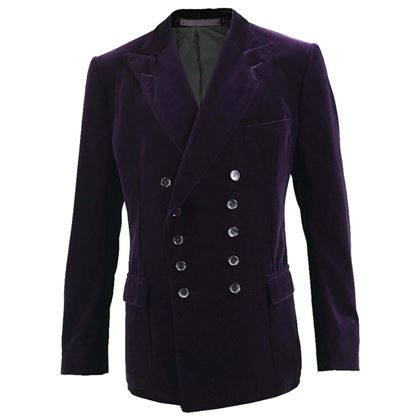 Picture of Gucci Men's Dark Purple Double Breasted Velvet Jacket