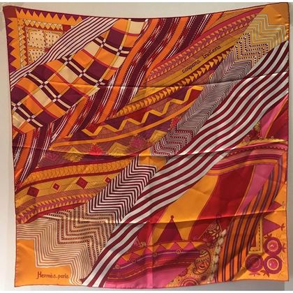 Hermes Coupons Indiens Silk Scarf in Orange, circa 2008