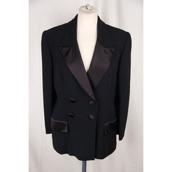 gai-mattiolo-black-double-breasted-blazer-jacket-size-44