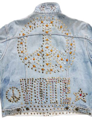 KATHARINE HAMNETT c. 1986 VOTE Studded Jeans Jacket One-Size