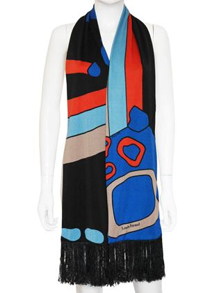 LOUIS FÉRAUD c. 1969 Vintage Set Sleeveless Printed Dress w/ Scarf Size XS