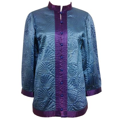 YVES SAINT LAURENT c. 1978 Quilted Silk Jacket Size S-M