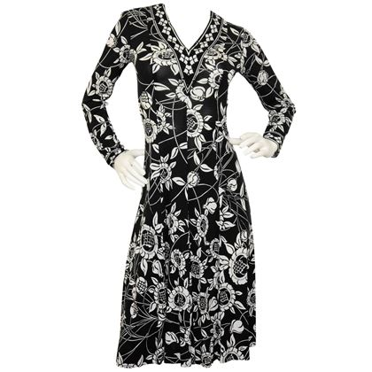 EMILIO PUCCI 1970s Vintage Printed Silk Dress Size S