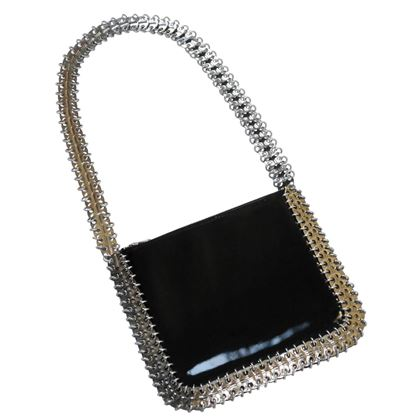 PACO RABANNE 1960s Vintage Metal Disc & Patent Leather Bag