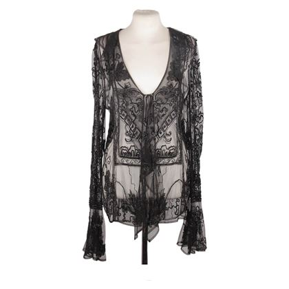 dolce-gabbana-black-beaded-blouse-shirt-with-frills-size-42