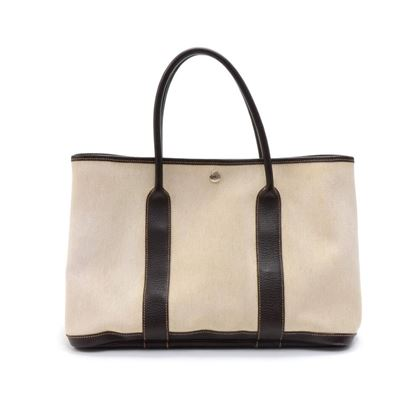 hermes-garden-party-pm-chocolate-brown-leather-beige-canvas-hand-bag-3
