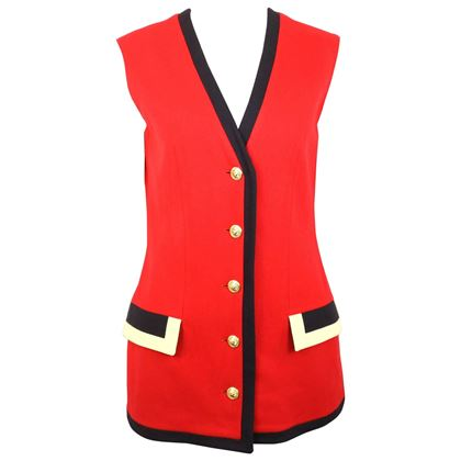 gianni-versace-jeans-couture-red-wool-vest-with-black-piping-trim