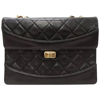 chanel-black-quilted-matelasse-lamb-leather-flap-chain-shoulder-bag