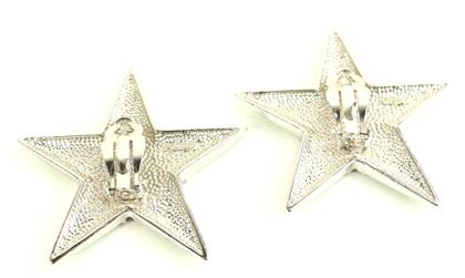 escada-green-star-shape-with-black-and-silver-dots-clip-on-earrings