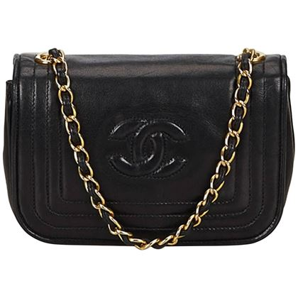 chanel-black-lambskin-straight-stitch-details-with-cc-flap-gold-chain-bag