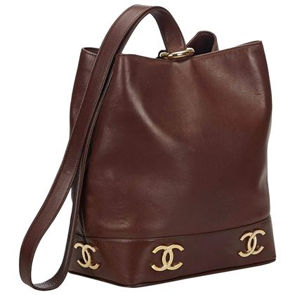chanel-brown-leather-gold-toned-cc-bucket-bag