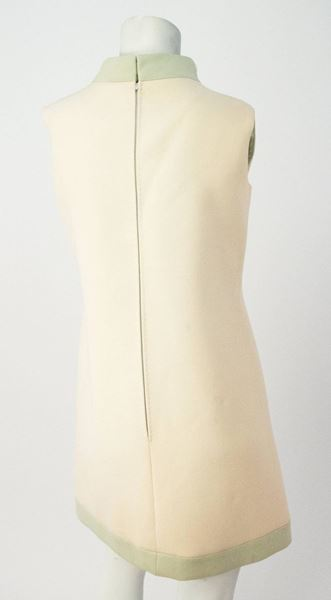 60s Carven Boutique Cream & Mint Mock Turtle Neck Dress