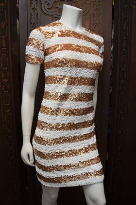 1960s Orange & White Sequined Party Dress