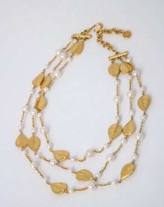 80s-givenchy-hammered-leaf-and-faux-pearl-triple-chain-necklace