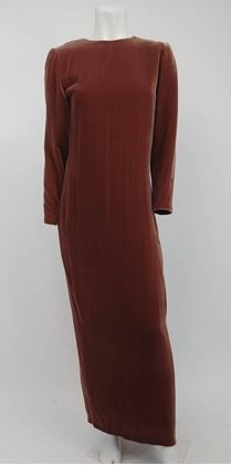 80s-oscar-de-la-renta-cognac-velvet-draped-evening-dress