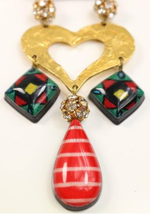 christian-lacroix-multicoloured-gold-tone-heart-drop-clip-on-earrings-2