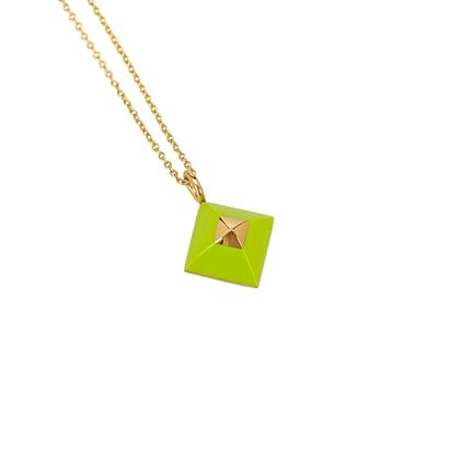 hermes-green-gold-toned-pyramid-pendant-necklace-2