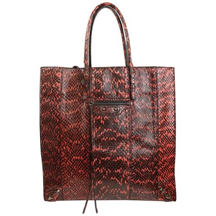 balenciaga-python-leather-faded-black-and-coral-paper-tote-bag-2