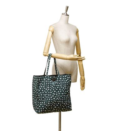 prada-dark-green-and-white-pattern-nylon-tote-bag-2