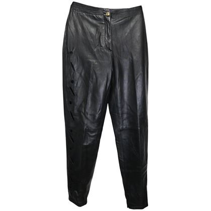 istante-by-gianni-versace-black-leather-with-cutout-pattern-pants-2