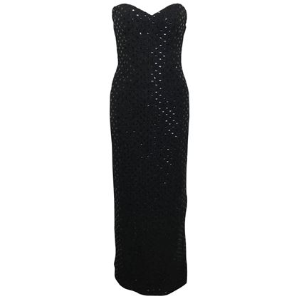 chanel-black-tweed-with-black-sequins-long-tube-evening-dress-2