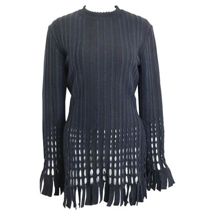 alaia-black-and-navy-stripe-wool-open-knit-fringe-hem-bodycon-dress-2