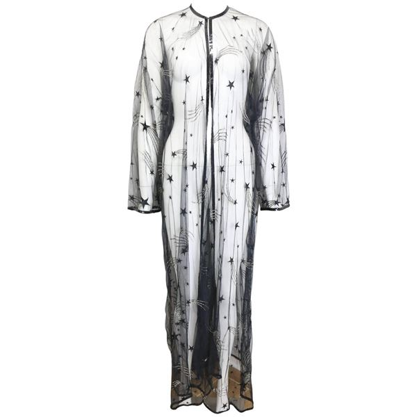 Chanel Embroidered See Through Evening Dressing Gown