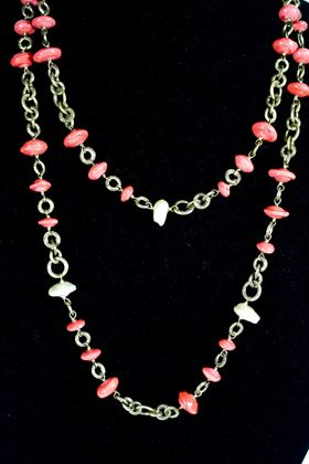 Chanel Vintage Coral & Pearl Beaded Necklace (1984) Pink White Gold  Pre-Owned Used