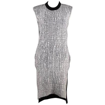 balenciaga-black-wool-blend-crackled-white-paint-detail-knit-dress-38-3