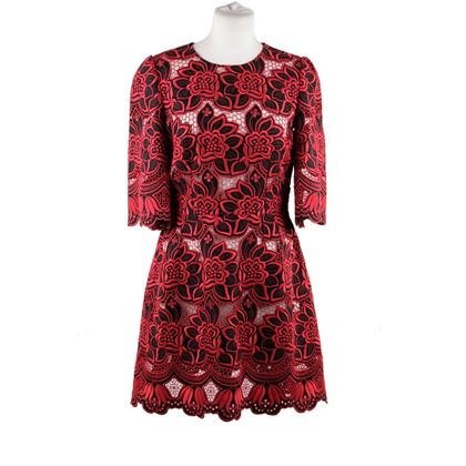 dolce-gabbana-red-black-floral-cotton-silk-embroidered-dress-size-42-2