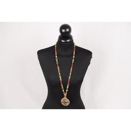 chanel-vintage-70s-gold-metal-long-necklace-w-brooch-pendant-3