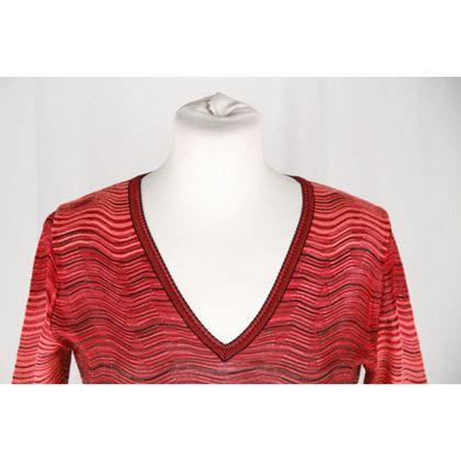 m-missoni-red-light-weight-knit-long-sleeve-dress-size-40-2