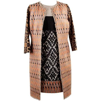 Gianbattista Valli Patterned Panelled Shift Dress And Coat Suit Size S