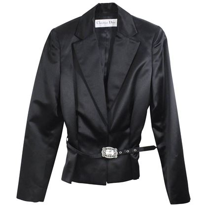 Amazing Christian Dior Tuxedo Style Silk Jacket with Strass Matching Belt. S.2