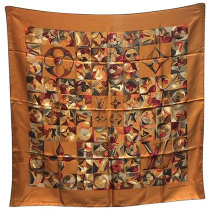 louis-vuitton-golden-painted-monogram-print-silk-square-scarf-2