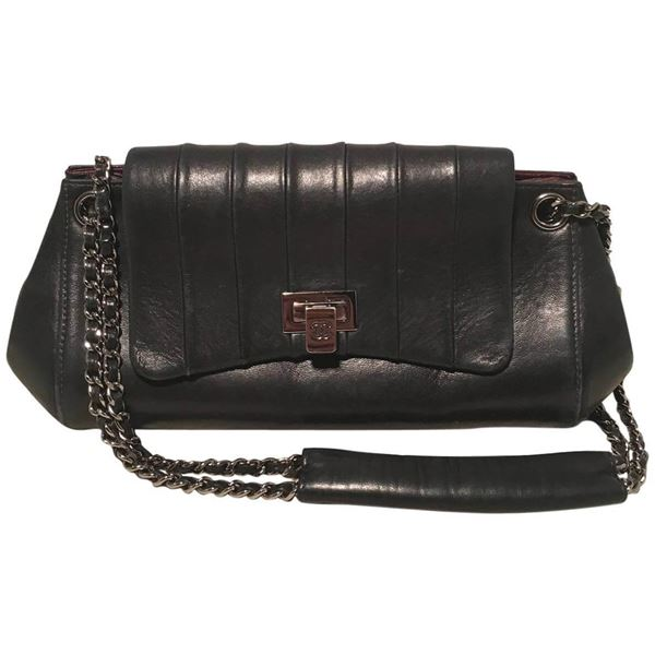 chanel-black-leather-pleated-top-flap-classic-shoulder-bag-2