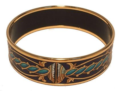 hermes-navy-blue-teal-and-gold-enamel-bangle-bracelet-2