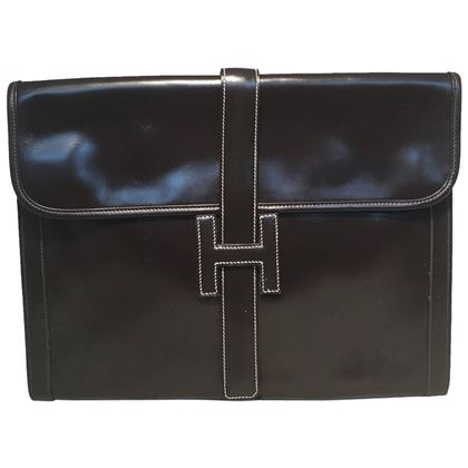 hermes-vintage-brown-box-calf-leather-jige-clutch-2